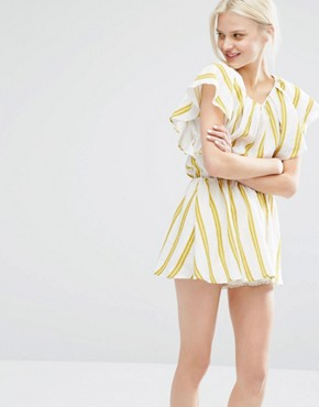 photo Dress with Ruffle Sleeves in Summer Stripe by I Love Friday, color Multi - Image 1