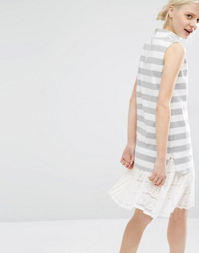 photo High Neck Sleeveless Dress in Marl Stripe with Lace Trim Hem by I Love Friday, color White - Image 2