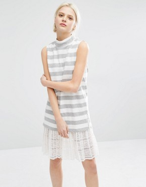 photo High Neck Sleeveless Dress in Marl Stripe with Lace Trim Hem by I Love Friday, color White - Image 1