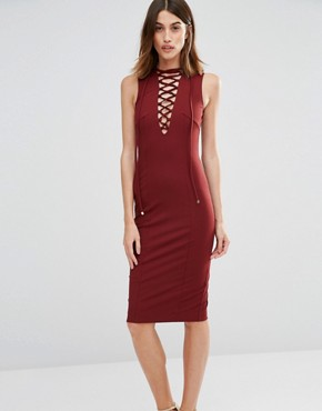 photo Superstition Plunge Dress by Finders Keepers, color Brick - Image 1