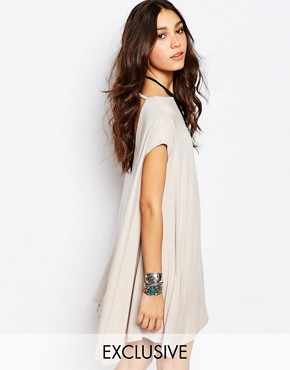 photo Swing T-Shirt Dress with Open Back by Rokoko, color Nude - Image 1