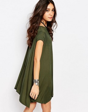 photo Swing T-Shirt Dress with Open Back by Rokoko, color Khaki - Image 2