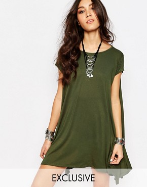 photo Swing T-Shirt Dress with Open Back by Rokoko, color Khaki - Image 1