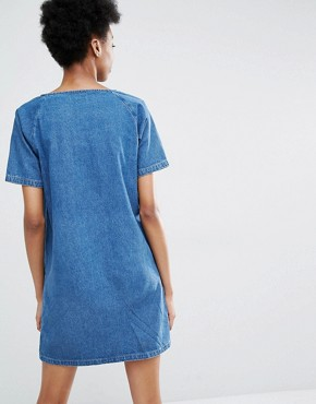 photo Frayed Denim Shift Dress with Sequin Pockets by Liquor & Poker Tall, color Blue - Image 2