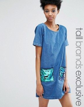 photo Frayed Denim Shift Dress with Sequin Pockets by Liquor & Poker Tall, color Blue - Image 1