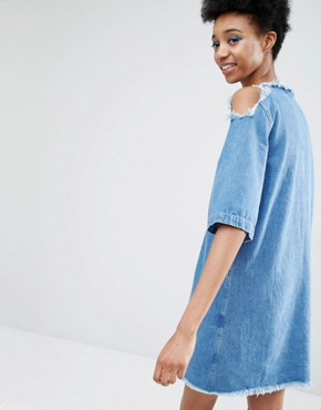 photo Cold Shoulder Denim Dress with Extreme Frayed Edges by Liquor & Poker Tall, color Blue - Image 2