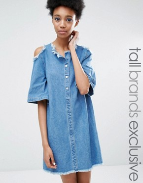 photo Cold Shoulder Denim Dress with Extreme Frayed Edges by Liquor & Poker Tall, color Blue - Image 1