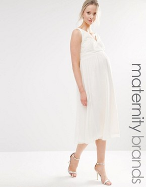 photo Lace Skater Dress by Little Mistress Maternity, color Cream - Image 1