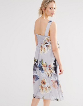 photo Floral Print Plunge Skater Dress with Embellishment by Little Mistress Maternity, color Multi - Image 2