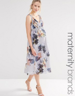 photo Floral Print Plunge Skater Dress with Embellishment by Little Mistress Maternity, color Multi - Image 1