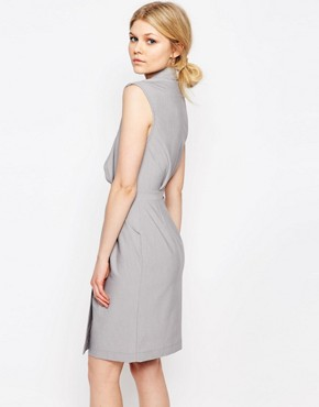 photo Wrap Front Sleeveless Dress with Lapels by Alter Petite, color Light Grey - Image 2