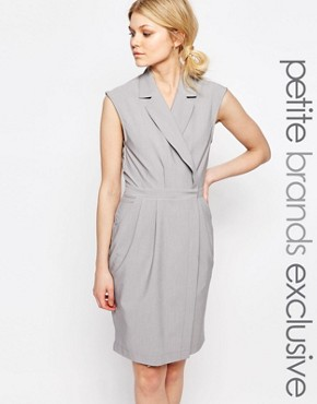photo Wrap Front Sleeveless Dress with Lapels by Alter Petite, color Light Grey - Image 1