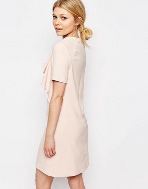 photo Ruffle Front Short Sleeve Shift Dress by Alter Petite, color Blush - Image 2