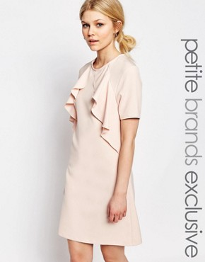 photo Ruffle Front Short Sleeve Shift Dress by Alter Petite, color Blush - Image 1