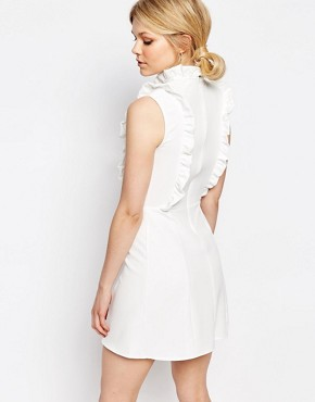photo Ruffle Detail Sleeveless Skater Dress by Alter Petite, color Cream - Image 2