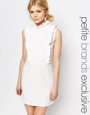 photo Ruffle Detail Sleeveless Skater Dress by Alter Petite, color Cream - Image 1