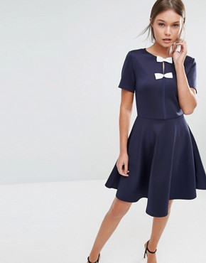 5f25bf6e5a60 Otisia Bow Detail Dress By Ted Baker Dark Blue. Image Is Loading Bnwt Ted  Baker Loozy Cream Black Bow Tie