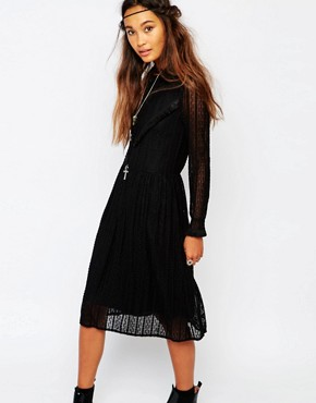 photo Smock Dress in Lace with V Panel by Navy London, color Black - Image 1