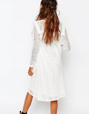 photo Smock Dress in Lace with Front Panel by Navy London, color White - Image 2