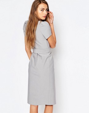 photo Short Sleeve Wrap Front Dress with Tie Waist and Button Detail by Alter Tall, color Light Grey - Image 2