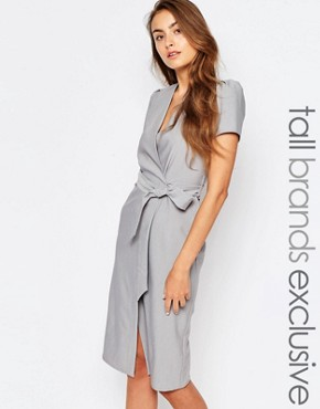 photo Short Sleeve Wrap Front Dress with Tie Waist and Button Detail by Alter Tall, color Light Grey - Image 1
