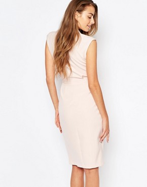 photo Wrap Front Sleeveless Dress with Lapels by Alter Tall, color Blush - Image 2