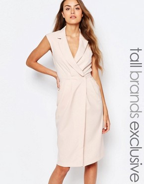 photo Wrap Front Sleeveless Dress with Lapels by Alter Tall, color Blush - Image 1