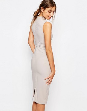 photo Sleeveless Pencil Dress with Keyhole and High Neck Detail by Alter Tall, color Oyster - Image 2