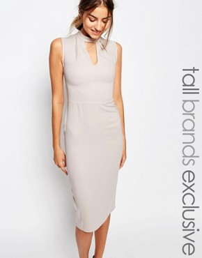 photo Sleeveless Pencil Dress with Keyhole and High Neck Detail by Alter Tall, color Oyster - Image 1