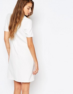 photo Ruffle Front Short Sleeve Shift Dress by Alter Tall, color Cream - Image 2