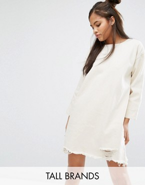 photo 3/4 Sleeve Denim Dress with Extreme Distressed Hem by Waven Tall, color Oatmeal - Image 1
