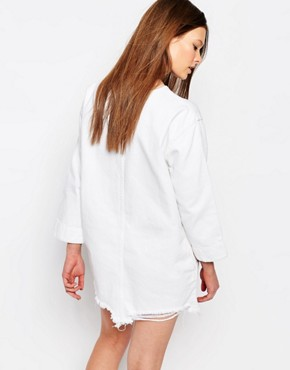 photo 3/4 Sleeve Denim Dress with Extreme Distressed Hem by Waven Petite, color White - Image 2