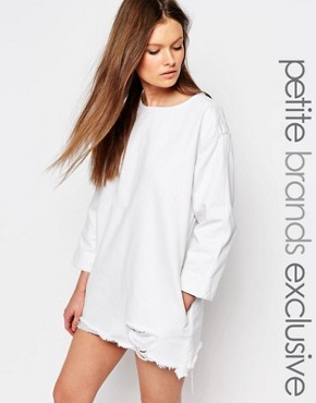 photo 3/4 Sleeve Denim Dress with Extreme Distressed Hem by Waven Petite, color White - Image 1