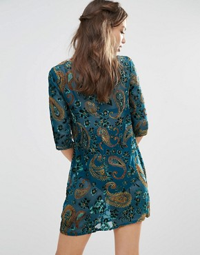 photo Shift Dress in Luxury Festival Velvet by ebonie n ivory, color Blue - Image 2