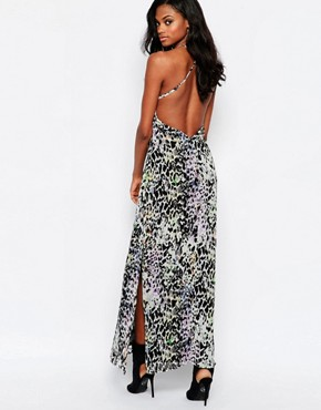 photo Elegance Maxi Dress with Low Back in Leopard Print by Goldie, color Multi - Image 2
