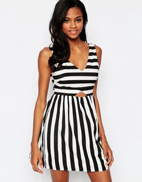 photo Mean Gal Striped Dress with Cut Out Detail by Goldie, color Multi - Image 1
