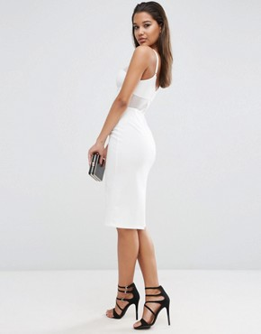 photo Lace Back Sporty Scuba Pencil Dress by ASOS NIGHT, color Ivory - Image 2