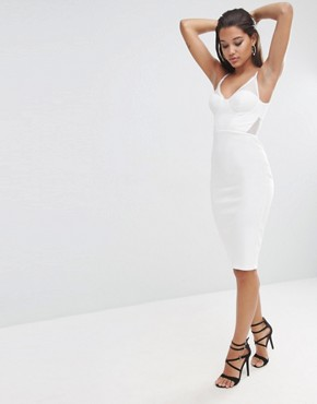 photo Lace Back Sporty Scuba Pencil Dress by ASOS NIGHT, color Ivory - Image 1