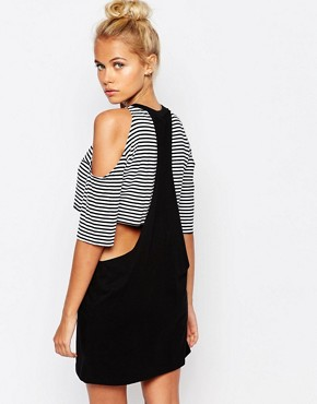 photo Cut Out Double Layer T-Shirt Dress by The Ragged Priest, color Black - Image 2