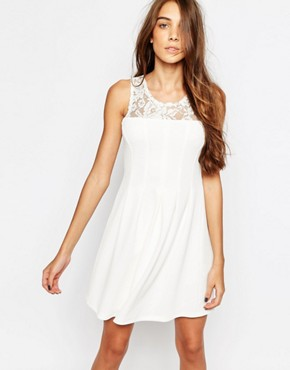 photo Lace Insert Skater Dress by Pimkie, color White - Image 1