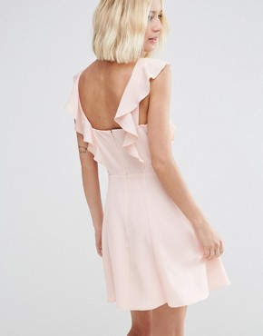 photo Skater Dress with Square Neck and Ruffle Detail by ASOS, color Blush - Image 2