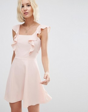 photo Skater Dress with Square Neck and Ruffle Detail by ASOS, color Blush - Image 1