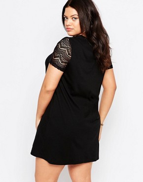photo Plus Shift Dress with Lace Top by Live in Love, color Black Multi - Image 2
