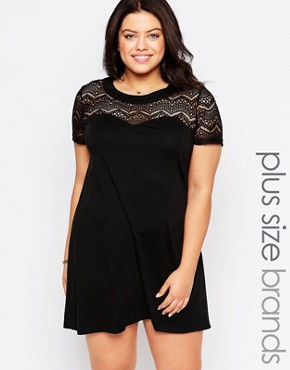 photo Plus Shift Dress with Lace Top by Live in Love, color Black Multi - Image 1