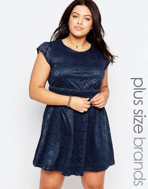 photo Plus Lace Dress by Live in Love, color Navy - Image 1