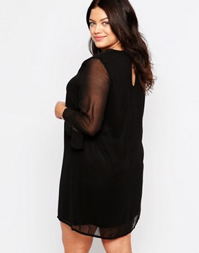 photo Plus Shift Dress with Frill Sleeves by Live in Love, color Black - Image 2