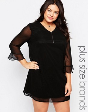photo Plus Shift Dress with Frill Sleeves by Live in Love, color Black - Image 1