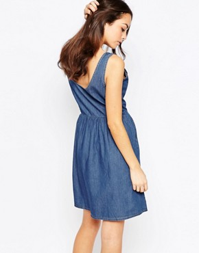 photo Chambray Button Front Dress by JDY, color Blue - Image 2