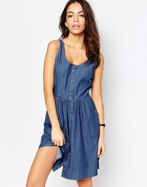photo Chambray Button Front Dress by JDY, color Blue - Image 1