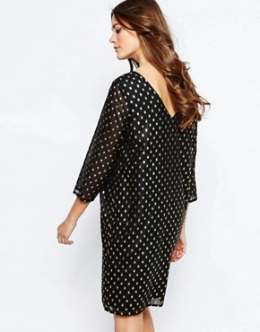 photo Brook Metallic Spot Dress with High Neck by Ichi, color Black - Image 2